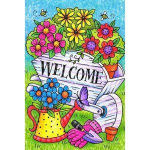 Garden Flag- NEW- Spring Country Flowers Garden